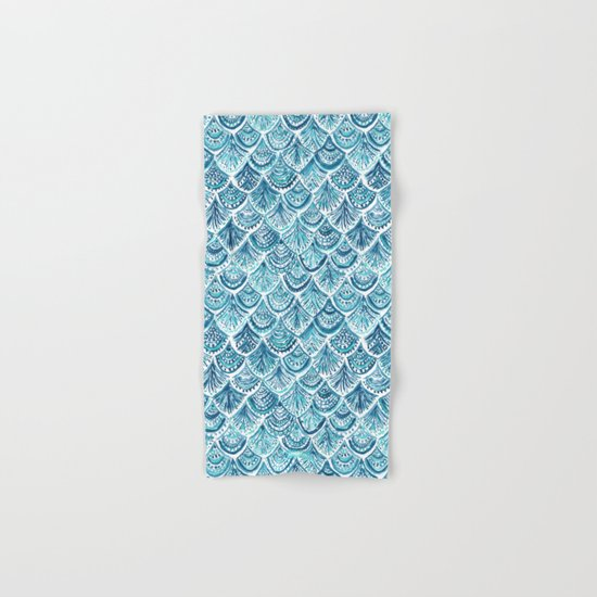 NAVY LIKE A MERMAID Fish Scales Watercolor Hand & Bath Towel