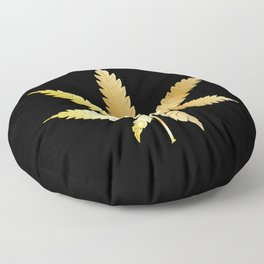 Gold Cannabis Leaf Floor Pillow