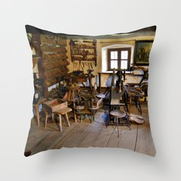 Old shoe making workshop Throw Pillow