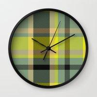 yellow pattern Wall Clocks featuring Pattern Yellow by Fine2art