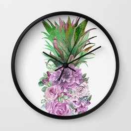 Floral Pineapple 1 Wall Clock