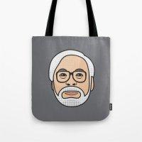 hayao miyazaki Tote Bags featuring Hayao Miyazaki Portrait - Grey by Cedric S Touati
