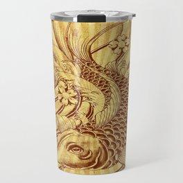 old fashion sun rays vintage japanese tatoo koi fish Travel Mug