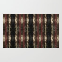 Bold Red Black and Gold Pattern Textured Stripe Print Rug