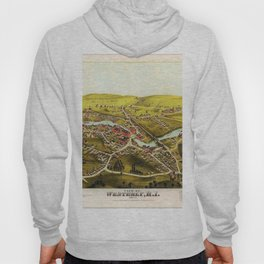 1877 Westerly, Rhode Island Bird's Eye View Lithographic Map Poster Hoody