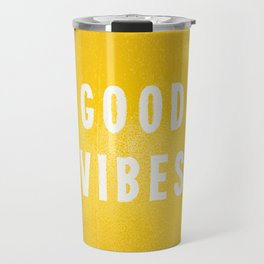 Sunny Yellow and White Distressed Effect Good Vibes Travel Mug