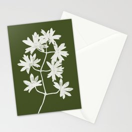 White Leaves Linocut on Olive Background Stationery Cards