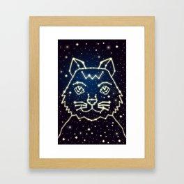 Cat and Stars Framed Art Print