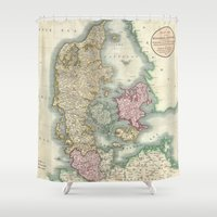denmark Shower Curtains featuring Vintage Map of Denmark (1801)  by BravuraMedia