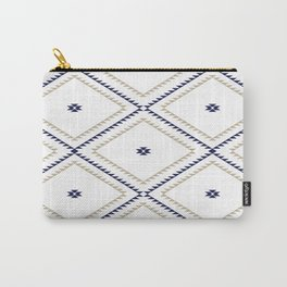 Navajo Pattern - Tan / Navy / White Carry-All Pouch