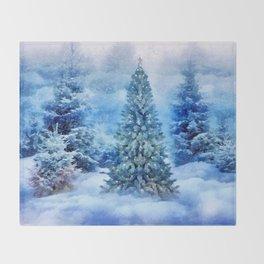 Christmas tree scene Throw Blanket