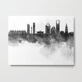 Riyadh skyline in black watercolour  Metal Print