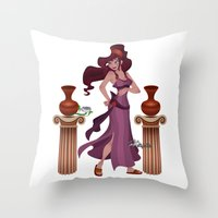 hercules Throw Pillows featuring Meg / Megara - Hercules by Teo Hoble