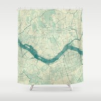 seoul Shower Curtains featuring Seoul Map Blue Vintage by City Art Posters