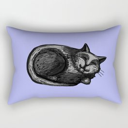 Sleepy Grey Cat with Periwinkle Rectangular Pillow