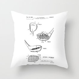 patent art Antonious Golf Club of the wood type 1969 Throw Pillow