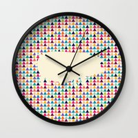piglet Wall Clocks featuring Geometric Piglet  by ArtisanObscure Prints