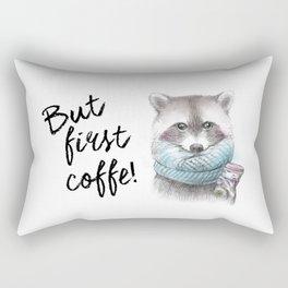 raccoon pencil and watercolor illustration Rectangular Pillow