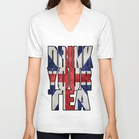 british flag V-neck T-shirts featuring Tea / British by tshirtsz