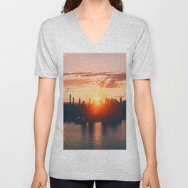 Sunrise in New York City (Color) Unisex V-Neck