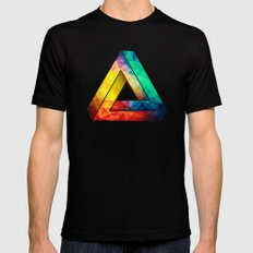 Abstract Multi Color Cubizm Painting MEDIUM Mens Fitted Tee Black