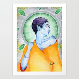 Blue Gaze Art Print
