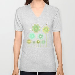 Blooming Flowers and Honey Bees Unisex V-Neck