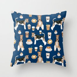 Wire Fox Terrier coffee dog pattern dog lover gifts for dog person dog breeds pet friendly Throw Pillow