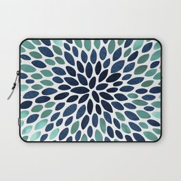 Flower Bloom, Aqua and Navy Laptop Sleeve