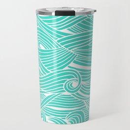 Water Drop – White on Turquoise Travel Mug