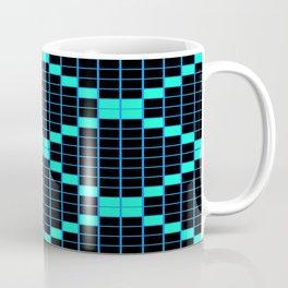 Black and Aqua Grid Crosstile Coffee Mug