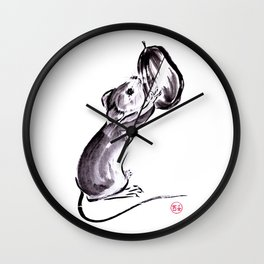 A mouse with a nut sumie ink painting Wall Clock