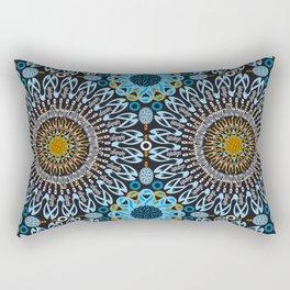 Calligraphic Boho (Blue) Rectangular Pillow