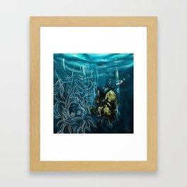 Falling into the dark Framed Art Print