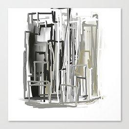 Black, White, Light Bronze City Canvas Print