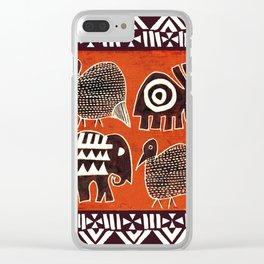 African Animal Folk Art Clear iPhone Case