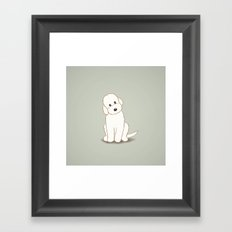 Cream Labradoodle Dog Illustration Framed Art Print