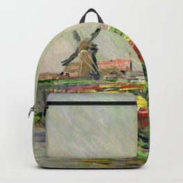 "Claude Monet ""Tulip field in Holland (Champ de tulipes en Hollande)"" Backpack"