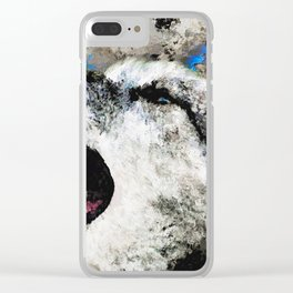 Blue Wolf Watercolor (Color) Clear iPhone Case