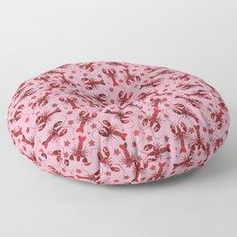 lobster love red pattern Floor Pillow