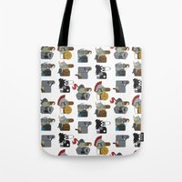 heavy metal Tote Bags featuring Heavy Metal by nobleplatypus
