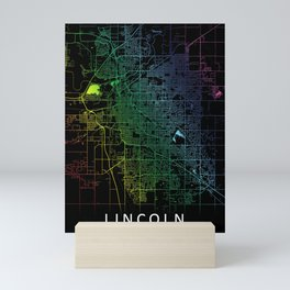 Lincoln, NE, USA City, Map, Rainbow, Map, Art, Print Mini Art Print
