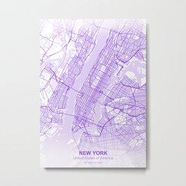 new york city map purple Metal Print