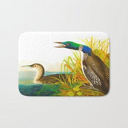 Great Norther Diver or Loon John James Audubon Scientific Birds Of America Illustration Bath Mat