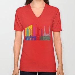New York skyline pop Unisex V-Neck