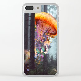 ElectricJellyfish Worlds in a Forest Clear iPhone Case