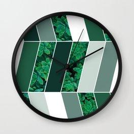 Green Herringbone #society6 #green #succulent Wall Clock