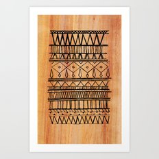 Wooden Tribal Pattern Art Print