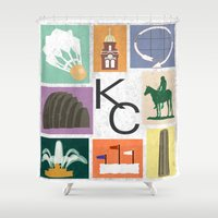 kansas city Shower Curtains featuring Kansas City Landmark Print by Jenna Davis Designs