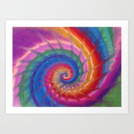 Spring into action with colour spirals Art Print